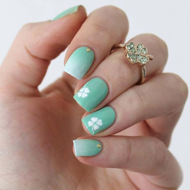 21 creative st patricks day nails stayglam stylish clover nail design prinsesfo Gallery