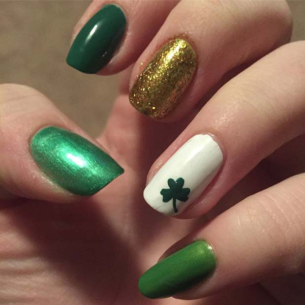 Three Leaf Shamrock and Glitter Nails