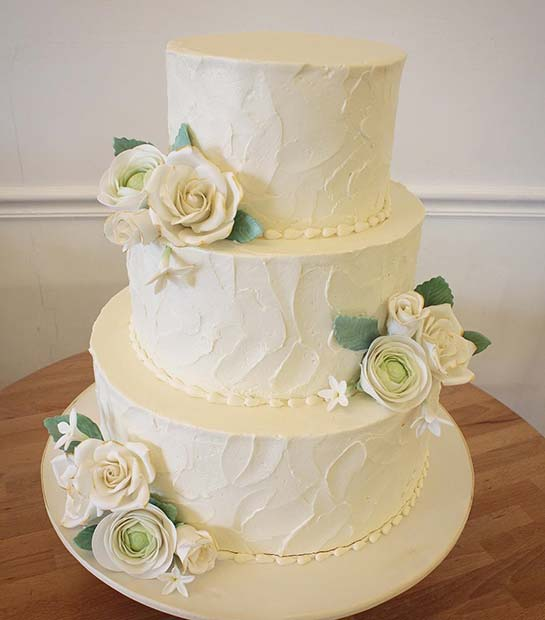 Traditional White Rose Wedding Cake