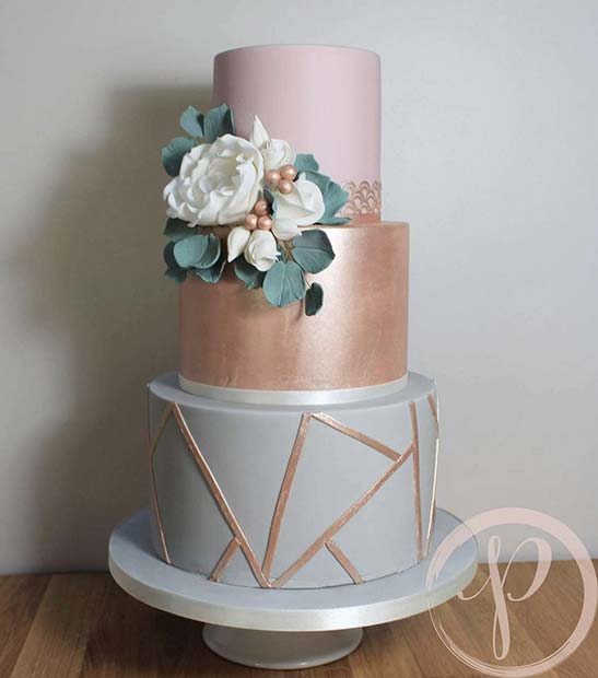 Trendy Grey Rose Gold Wedding Cake