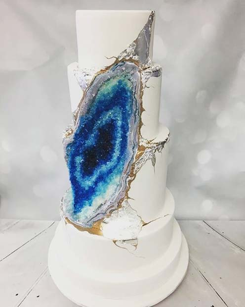 Unique Blue Geode Wedding Cake Idea