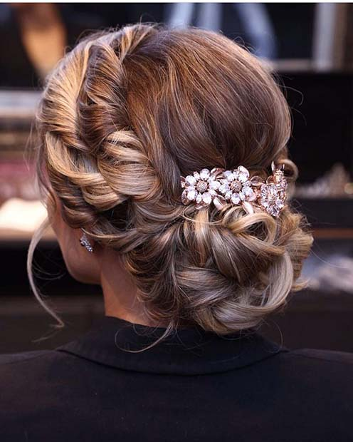 Twisted Updo with Cute Flowers