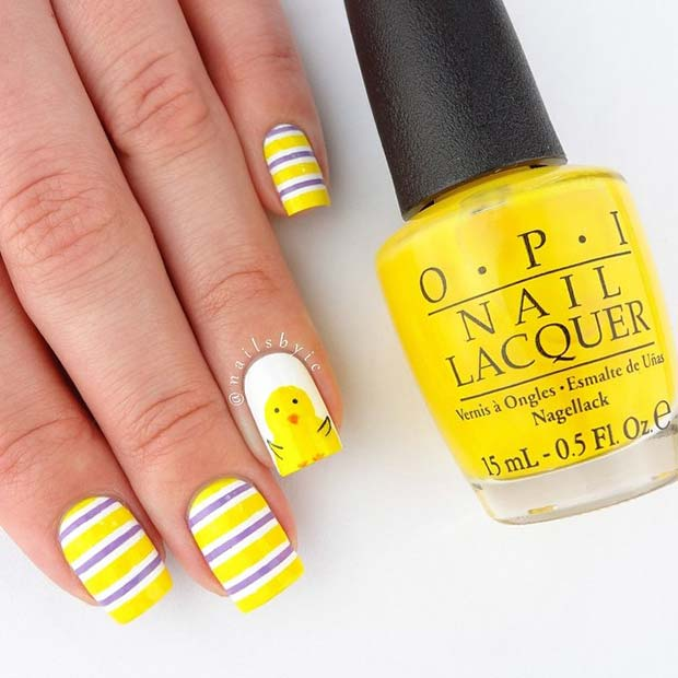 Vibrant Easter Chick Nail Art