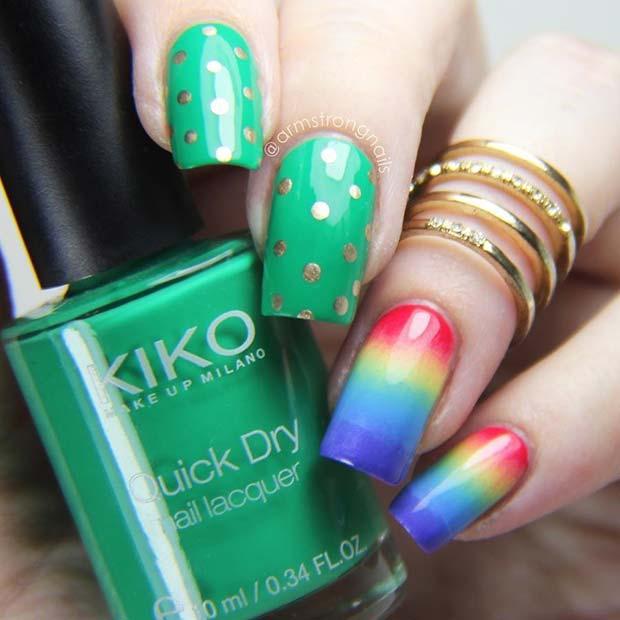 Vibrant Green and Rainbow St Patrick's Day Nails