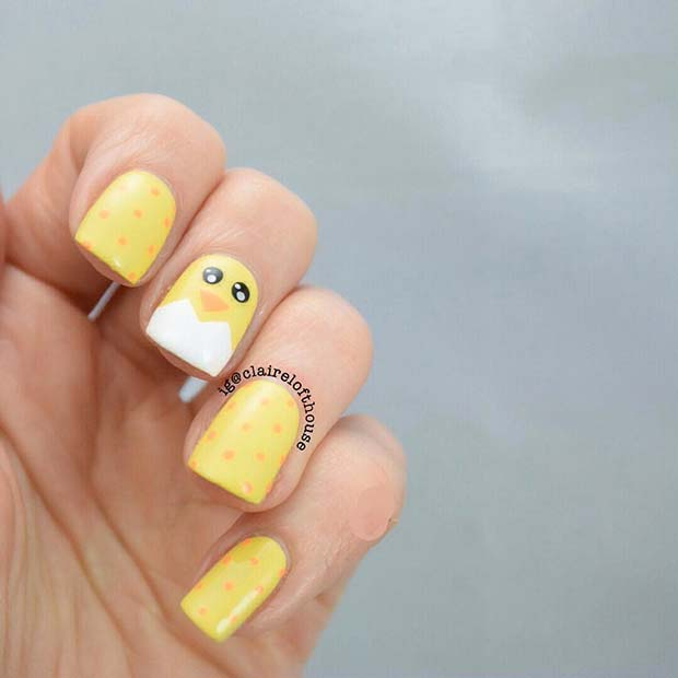 Yellow Chick and Polka Dot Nails