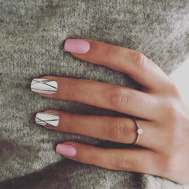 Pink and White Spring Nails