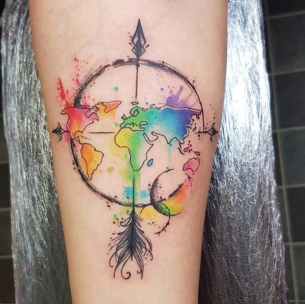 Watercolor Map and Arrow Tattoo Idea