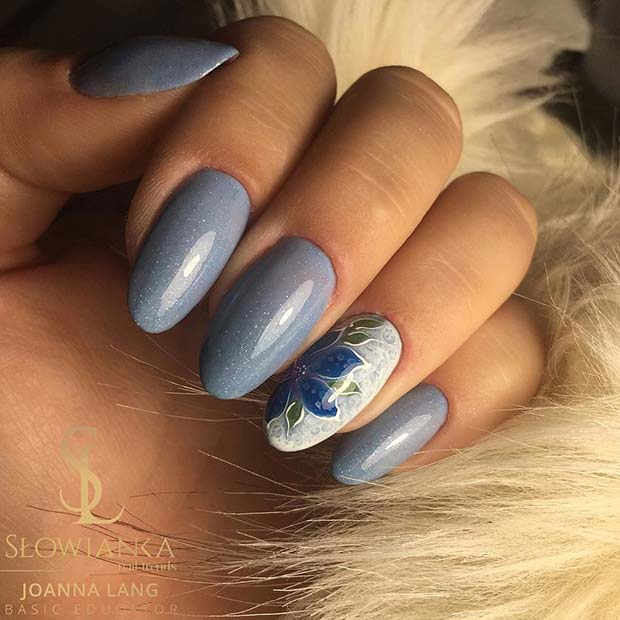 Beautiful Blue Floral Nails for Spring