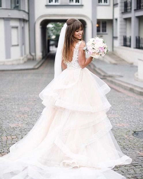 Beautiful Wedding Dress with Tiered Skirt