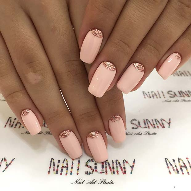 Beautiful Pink and Rose Gold Nails