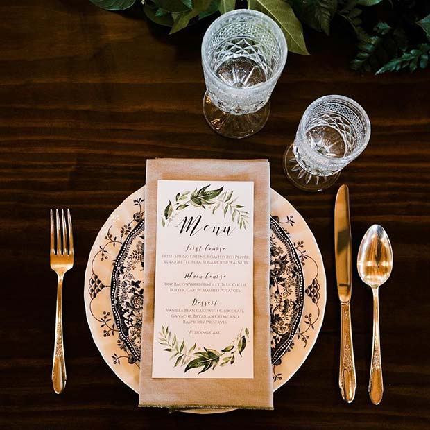 Vintage Wedding Table Setting Idea
