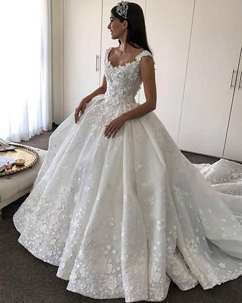Princess Floral Wedding Dress
