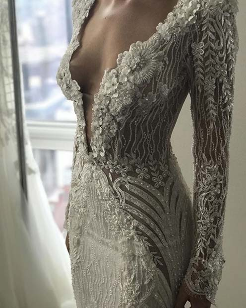 Sexy Wedding Dress with Plunging Neckline