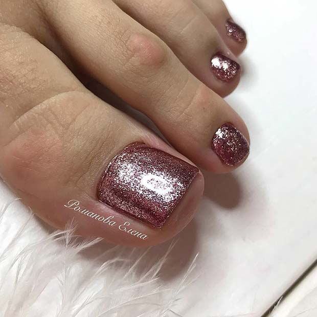 Simple, Pink Glitter Toe Nail Design