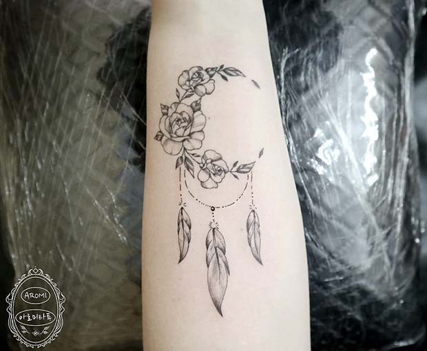 Creative Half Moon Dream Catcher Tattoo Design