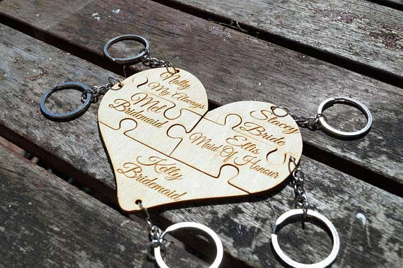 Creative and Unique Puzzle Keyring for Bridal Shower