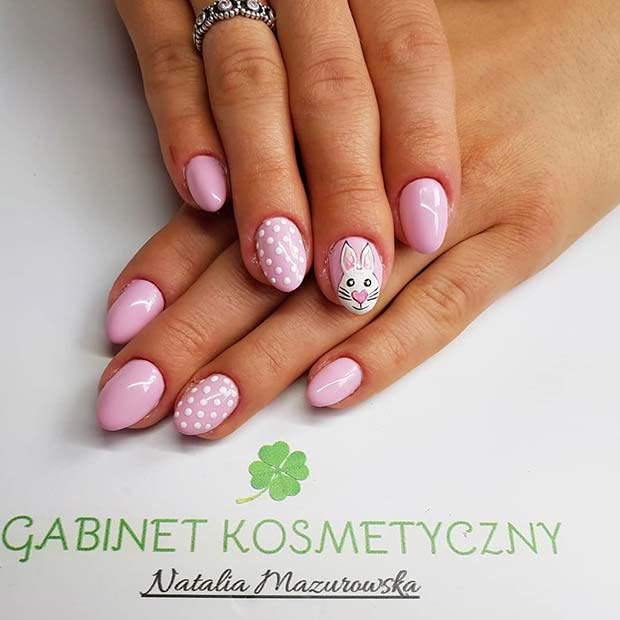 Cute Spring Nails with a Bunny