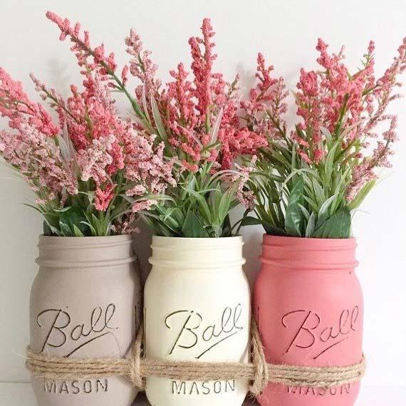 DIY Mason Jars for Bridal Shower Decor