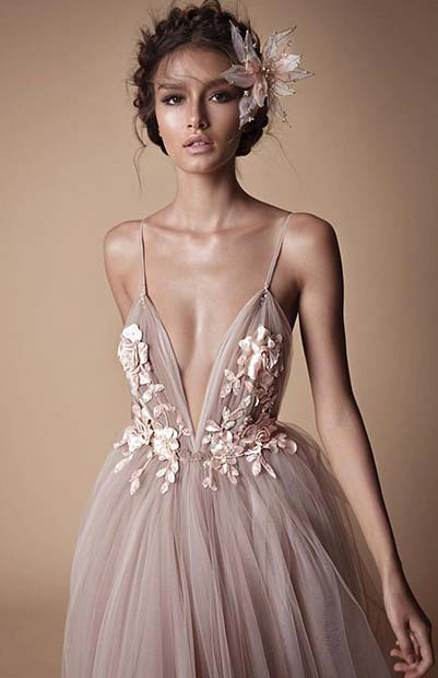 Delicate Floral Nude Wedding Dress