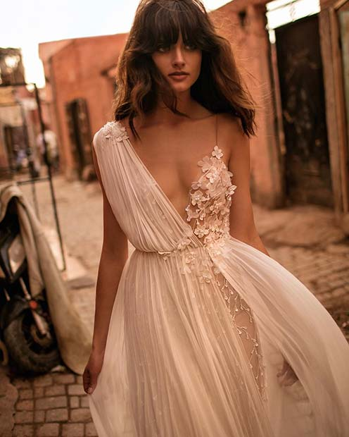 Modern Floral Wedding Dress