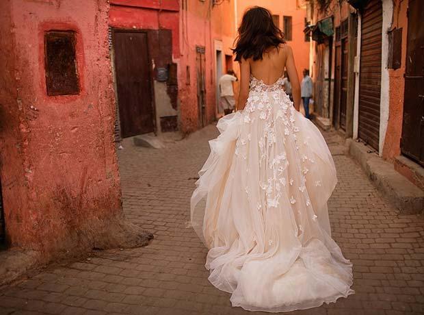Elegant Wedding Dress with Floral Applique