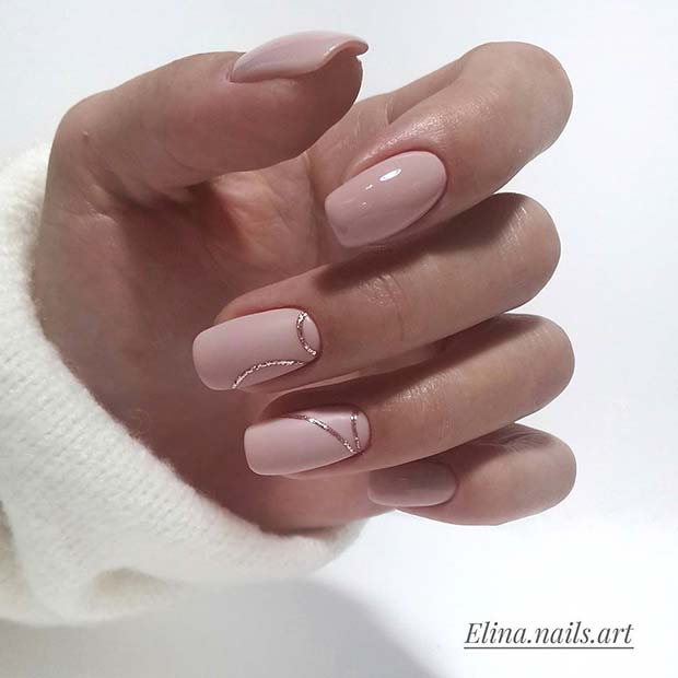 Elegant Nude Prom Nails