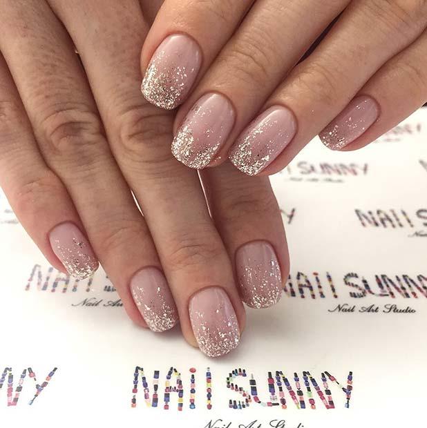 Elegant Silver Glitter Ombre Nails