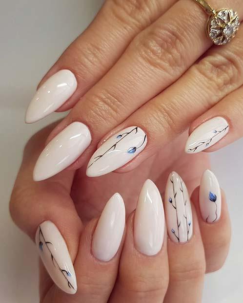 Long, Elegant Floral Nails
