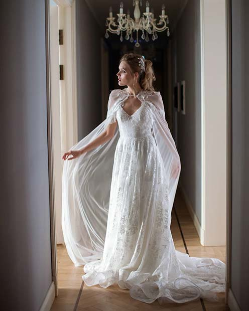Fairy Tale Wedding Gown and Cape