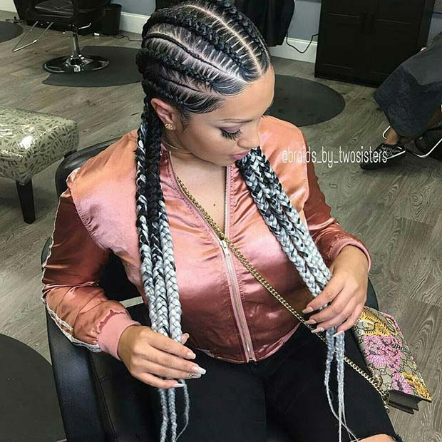 Feed In Braids with Color