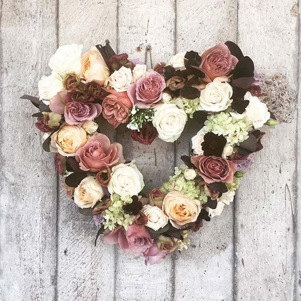 Floral Heart Wreath Bridal Shower Decor