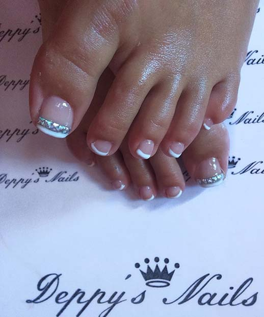 French Toe Nail Design with Rhinestones - 21 Elegant Toe Nail Designs For Spring And Summer Page 2 Of 2