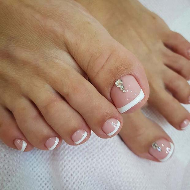 Elegant French Pedicure with Rhinestones - 21 Elegant Toe Nail Designs For Spring And Summer StayGlam
