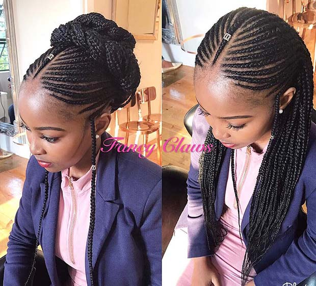 Fulani Bun and Long Braid Ideas