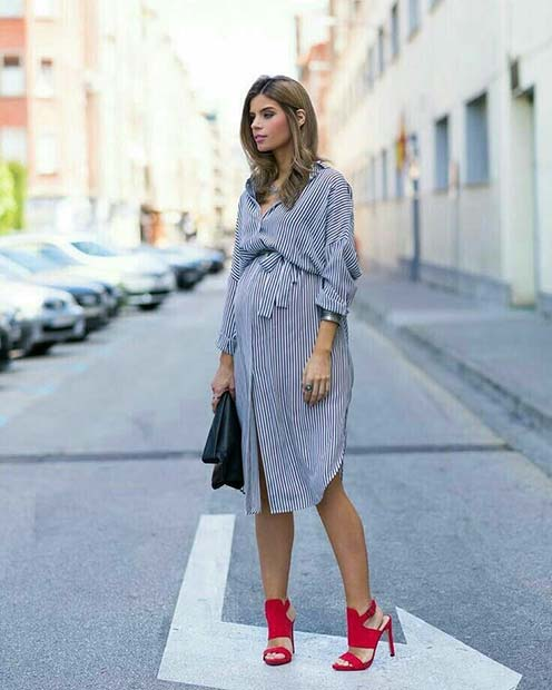 Glam Shirt Dress and Heels Maternity Outfit