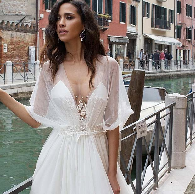 Gorgeous Wedding Dress with Sheer Sleeves