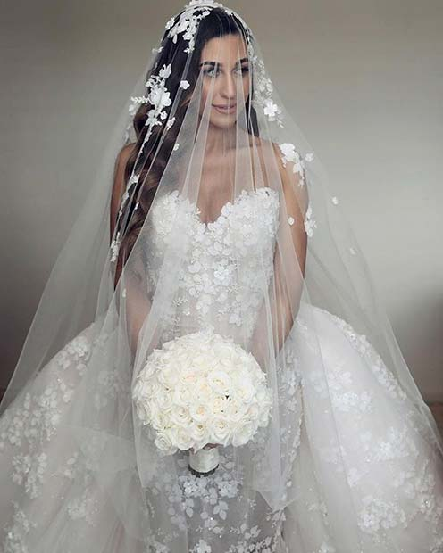 Floral Wedding Dress with a Veil