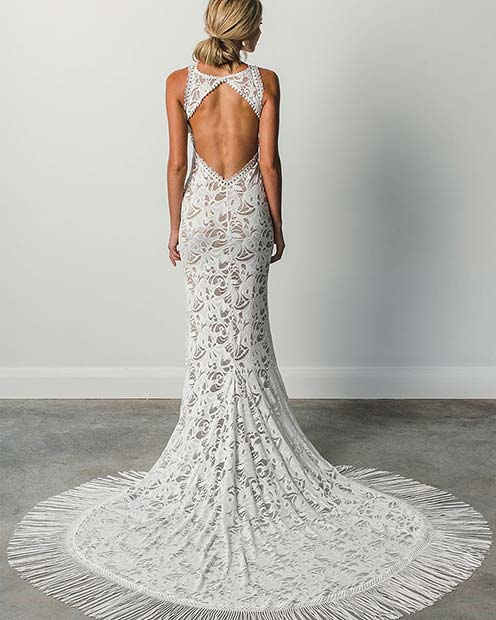 Lace Bridal Gown with Tassels