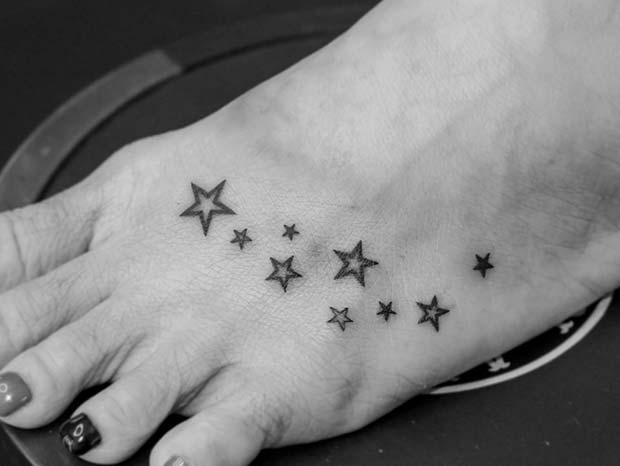 Multi Star Foot Tattoo Idea