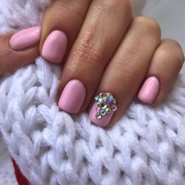 Pretty Pink Nails with Rhinestones