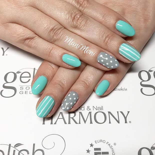 Spring Nails with Polka Dots and Stripes