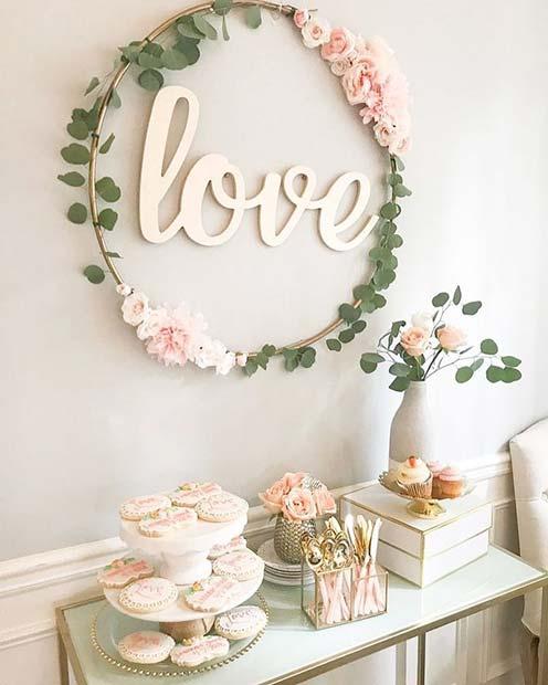 Pretty Cake Table Idea for Bridal Shower