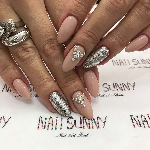 Nude Prom Nails with Glitter and Rhinestones