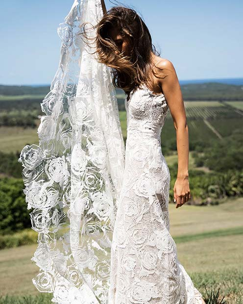 Simple Rose Embroidery Wedding Dress