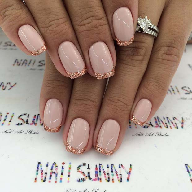 Rose Gold Glitter French Manicure