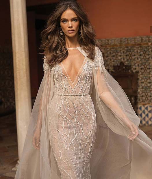 Glamorous Wedding Gown with Sheer Cape