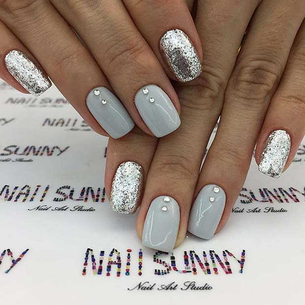 Silver Glitter and Gems Nail Art Design