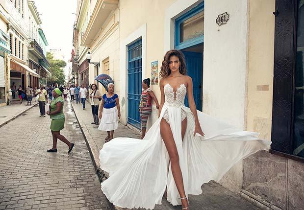 Statement Double Slit Wedding Dress