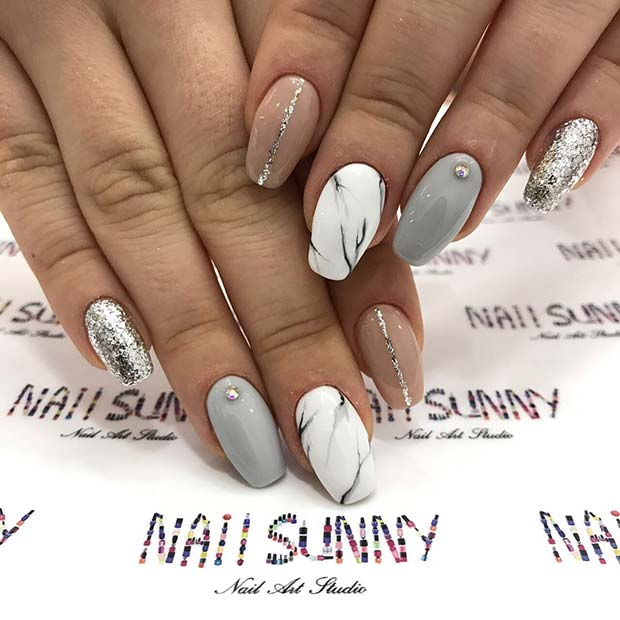 Statement Marble and Glitter Prom Nails