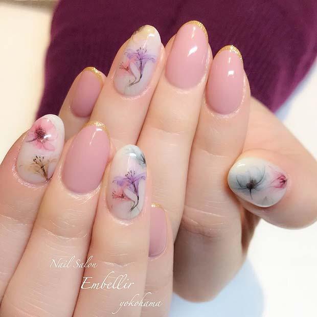 Stunning Spring Floral Nail Idea